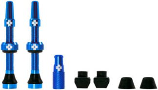MUC-OFF Tubeless Valve Kit - Blue, fits Road an Mountain, 44mm, Pair by Draco Bikes
